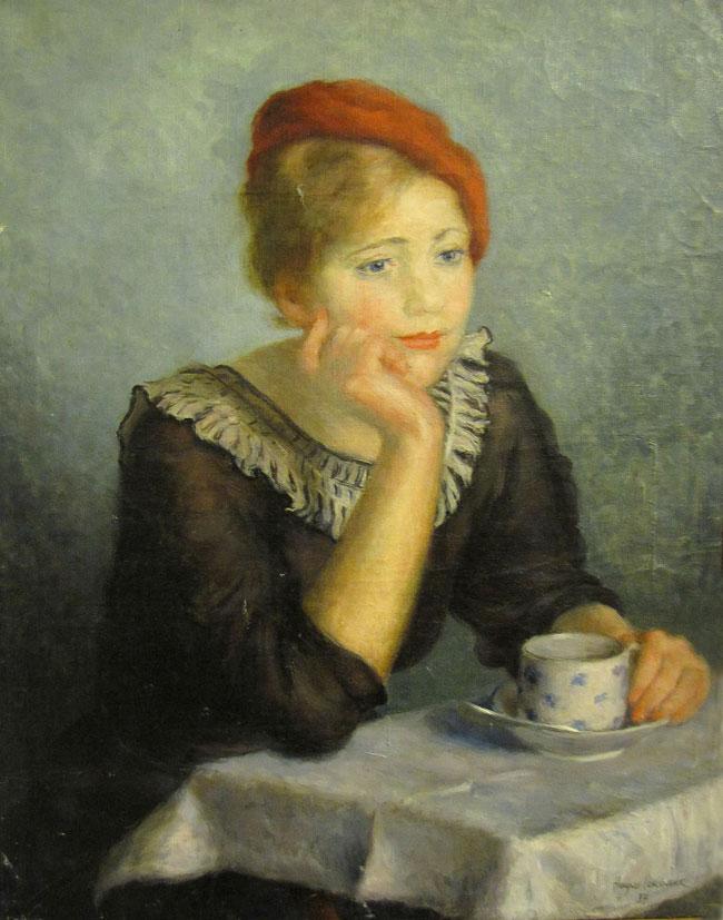 Наум Соколинк Женщина в красном берете 1937, дипломная работа, выставка в РОМИИ, Ростов-на-Дону