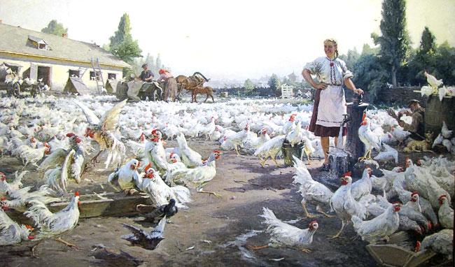 Николай Варення На колхозной птицеферме 1952 г., выставка в РОМИИ, Ростов-на-Дону