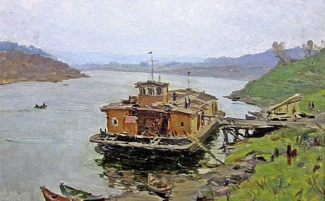 Язев Иван Андреевич (Россия, 1914-2011) «Паром на реке Дон» 1953-min