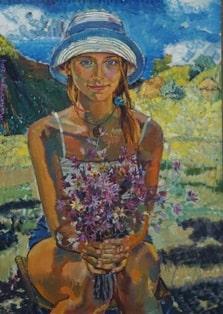портрет с букетом-min