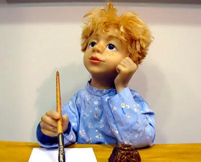 Ванька Жуков, автор - Наталья Руденко, с выставки Чеховских кукол в Галереи М, фото Веры Волошиновой