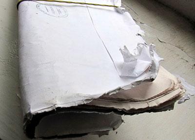 Размокший и разорванный конверт с газетой Россия, доставленный 82-ый почтовым отделением города Ростова-на-Дону, фото Веры Волошиновой