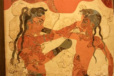 """""""Боксирующие мальчики"""" фреска с о. Крит, Афинский национальных археологический музей"""